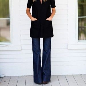 Theory Wide Leg Button Fly Jeans